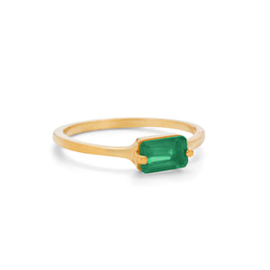 Baguette Ring, Green Onyx, Gold