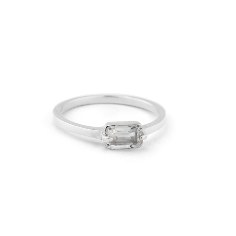 Baguette Band, White Topaz, Silver
