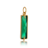 Baguette Charm, Green Onyx, Gold
