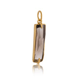 Baguette Charm, Smokey Quartz, Gold