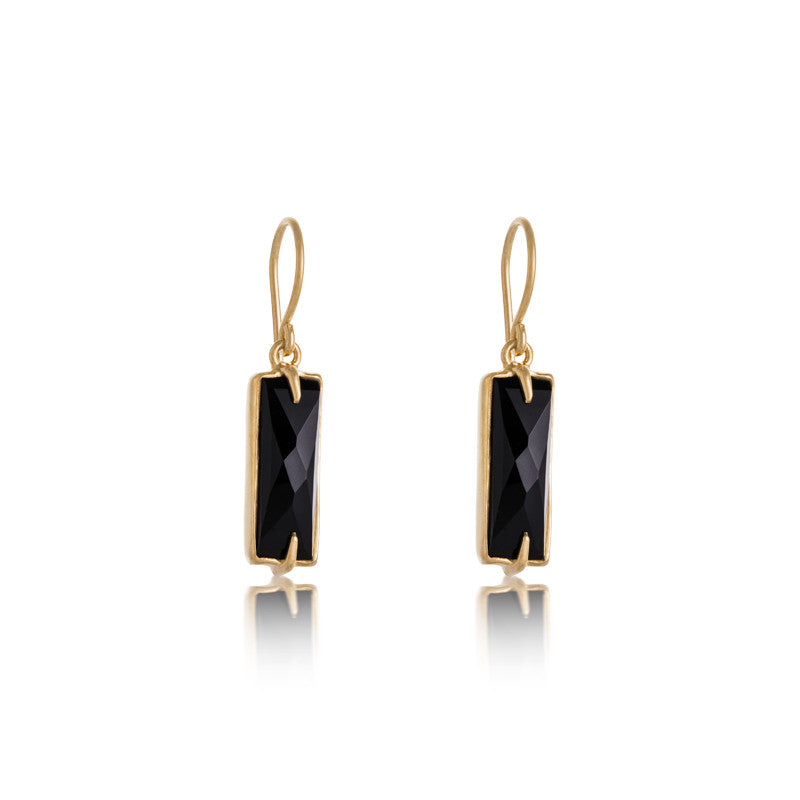 Baguette Earring, Black Onyx, Gold