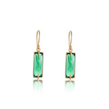 Baguette Earring, Green Onyx, Gold