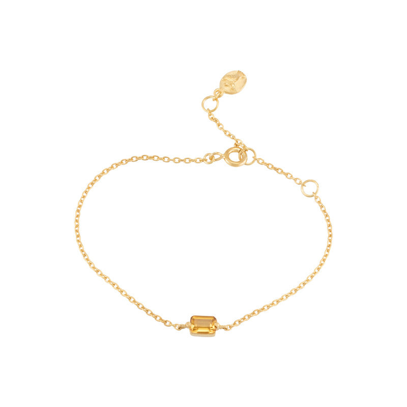 Baguette Mini Bracelet, Citrine, Gold