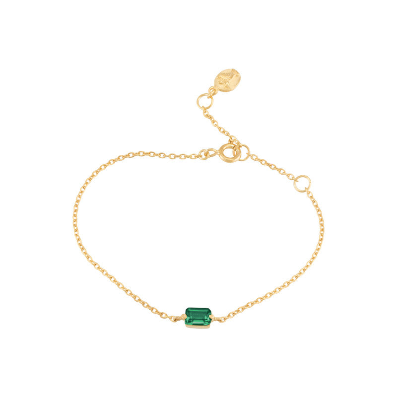 Baguette Mini Bracelet, Green Onyx, Gold