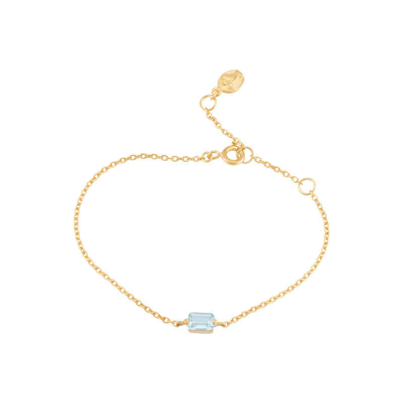 Baguette Mini Bracelet, Blue Topaz, Gold
