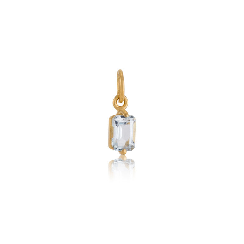 Baguette Mini Charm, Blue Topaz, Gold