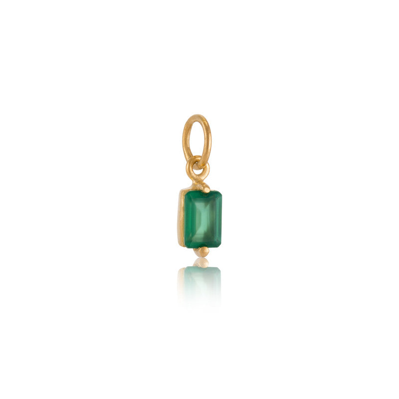 Baguette Mini Charm, Green Onyx, Gold