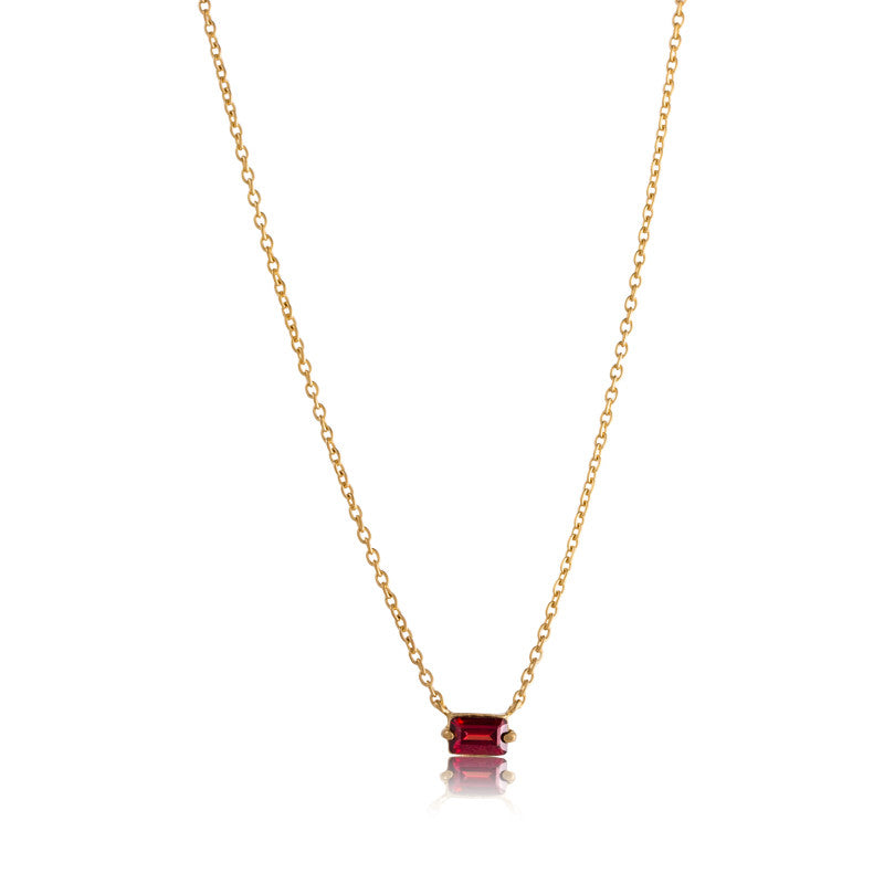 Baguette Mini Necklace, Garnet, Gold