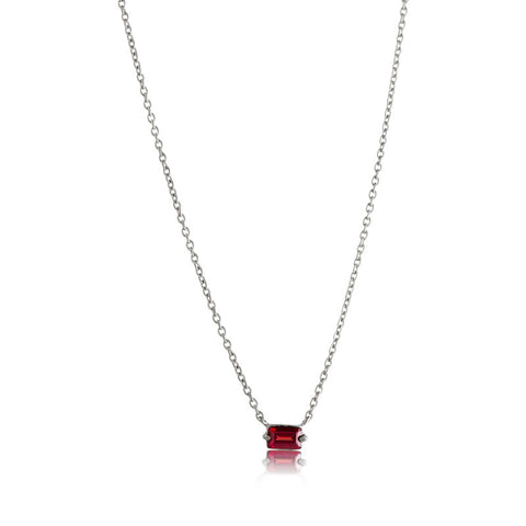 Baguette Mini Necklace, Garnet, Silver