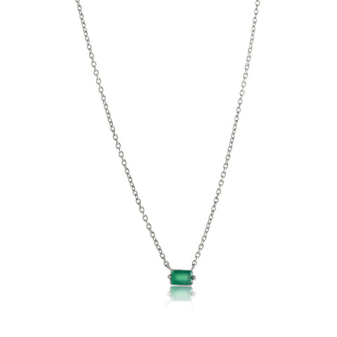 Baguette Mini Necklace, Green Onyx, Silver