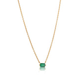 Baguette Mini Necklace, Green Onyx, Gold