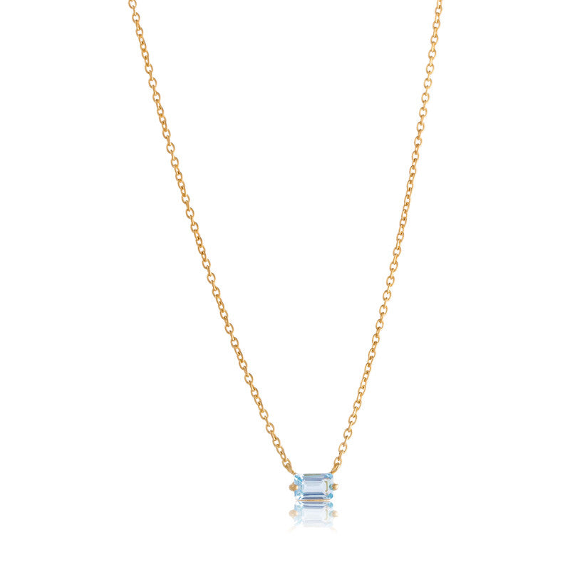 Baguette Mini Necklace, Blue Topaz, Gold