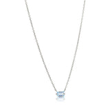 Baguette Mini Necklace, Blue Topaz, Silver
