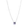 Baguette Mini Necklace, Iolite, Silver