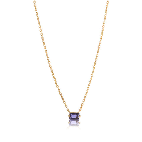 Baguette Mini Necklace, Iolite, Gold
