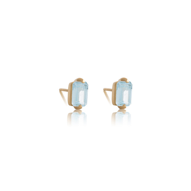 Baguette Mini Stud, Blue Topaz, Gold