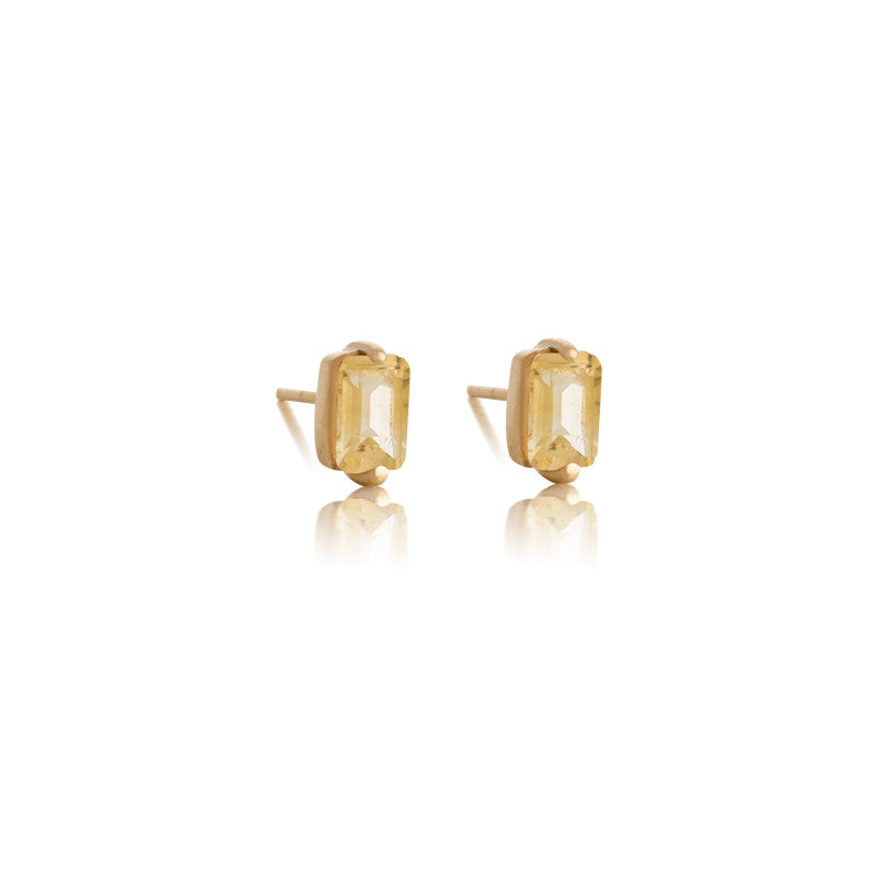 Baguette Mini Stud, Citrine, Gold