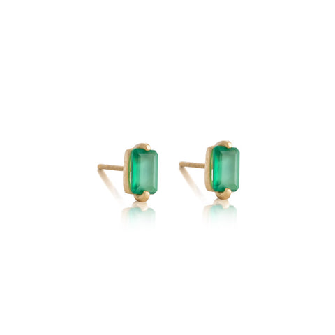 Baguette Mini Stud, Green Onyx, Gold
