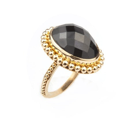 Granulated Gem Ring, Black Onyx