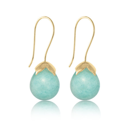 Bulb, Earring, Amazonite, Gold, Kerry, Rocks, Jewellery