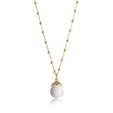 Bulb Pendant, White Quartzite, Gold
