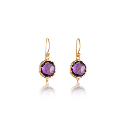 Candy Earring, Amethyst, Gold