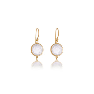 Candy Earring, Crystal Quartz, Gold