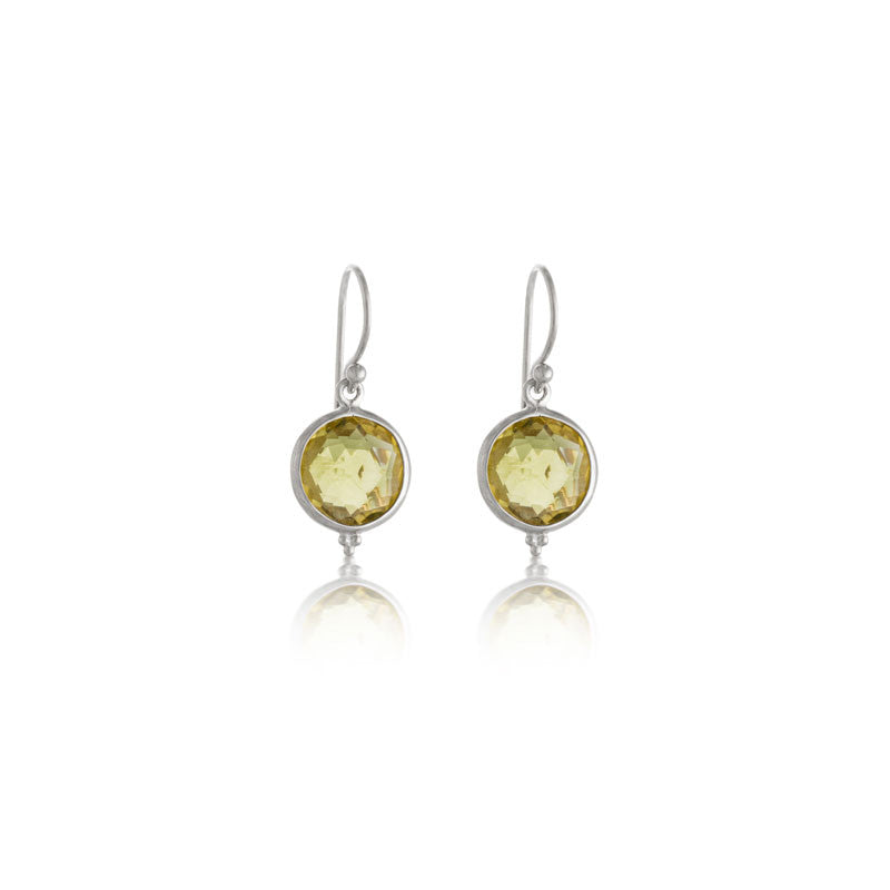 Candy Earring, Lemon Quartz, Silver