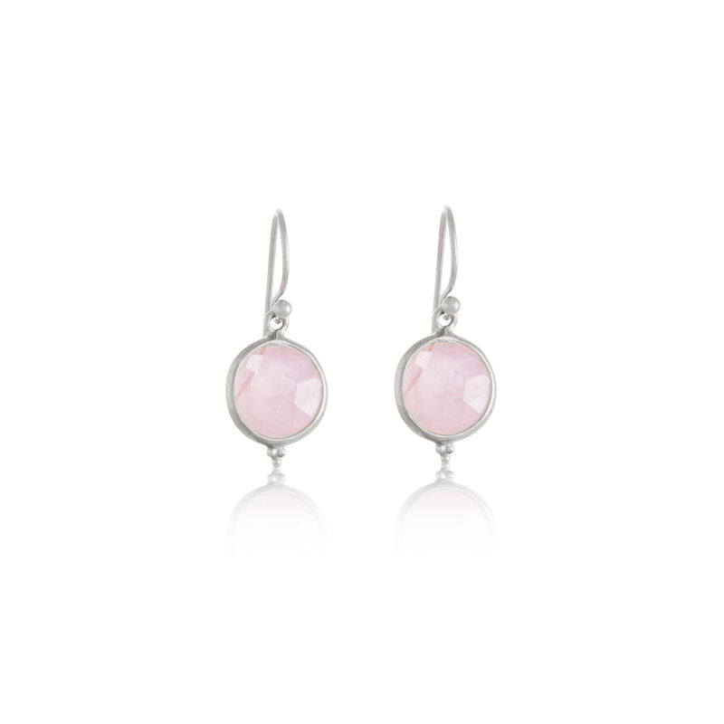 Candy Earring, Rose Quartz, Silver