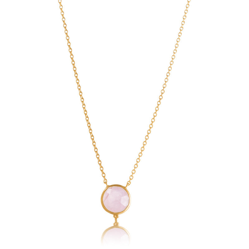 Candy Necklace, Rose Quartz, Gold