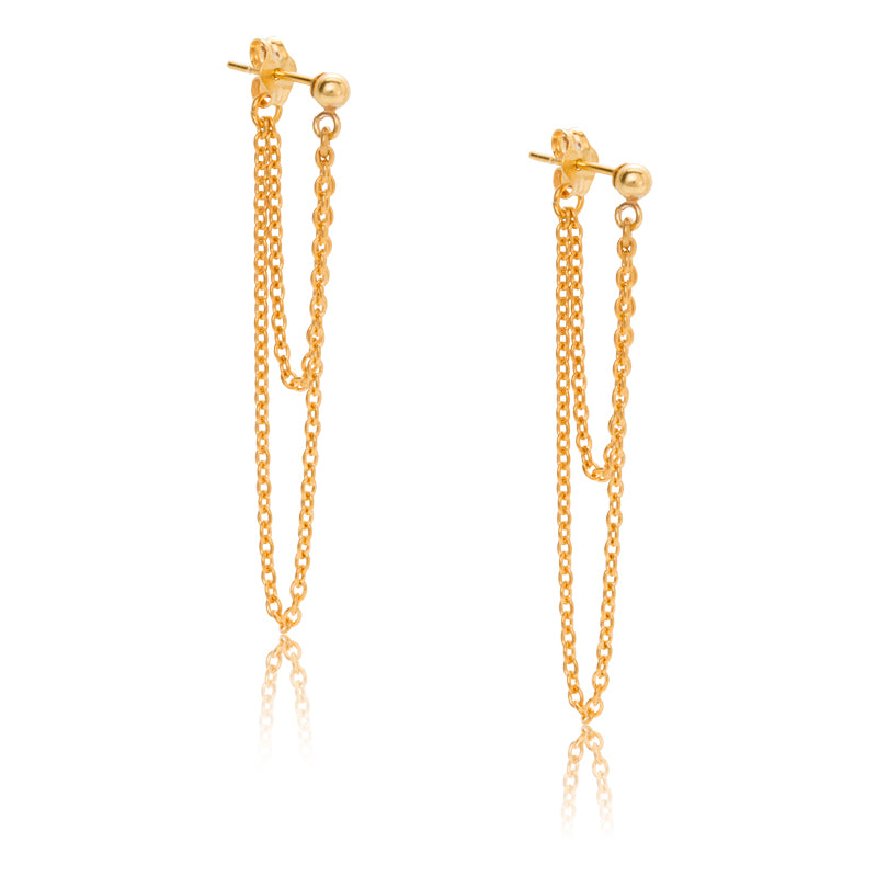 Chain Duo Stud, Gold