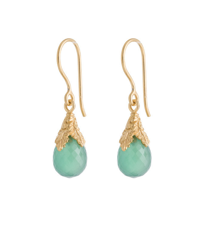 Cherise Earring, Green Onyx, Gold