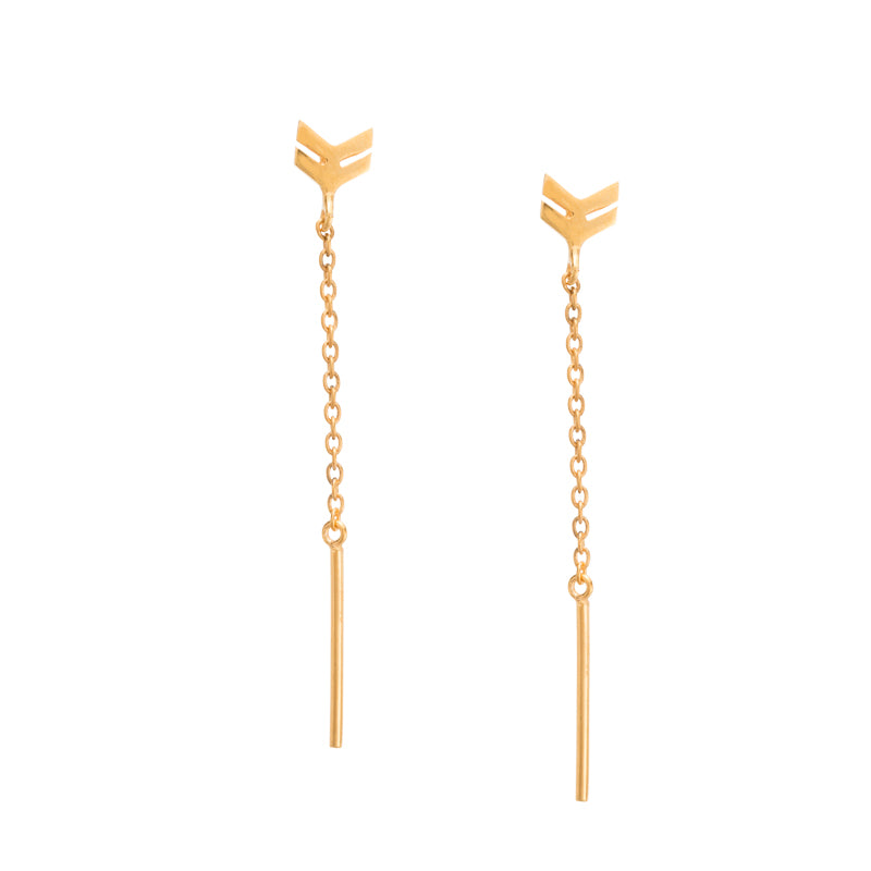 Chevron Chain Stud, Gold