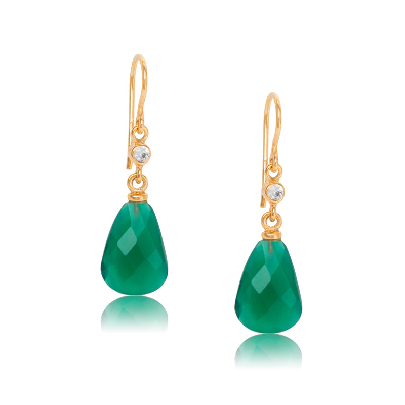 Chloe Earring, Green Onyx, Gold