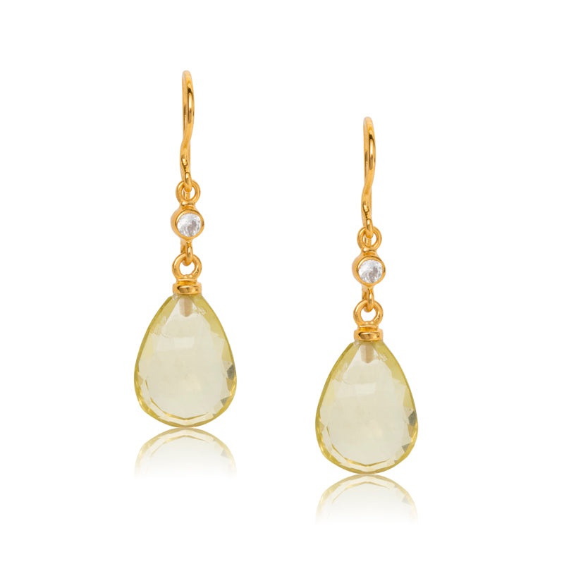 Chloe Earring, Lemon Quartz, Gold