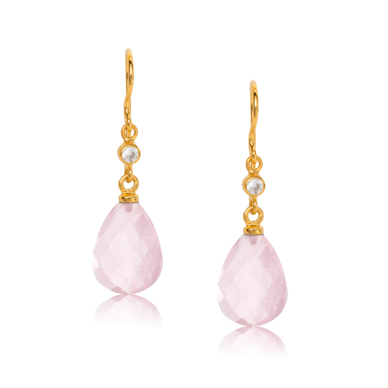 Chloe Earring, Rose Quartz, Gold