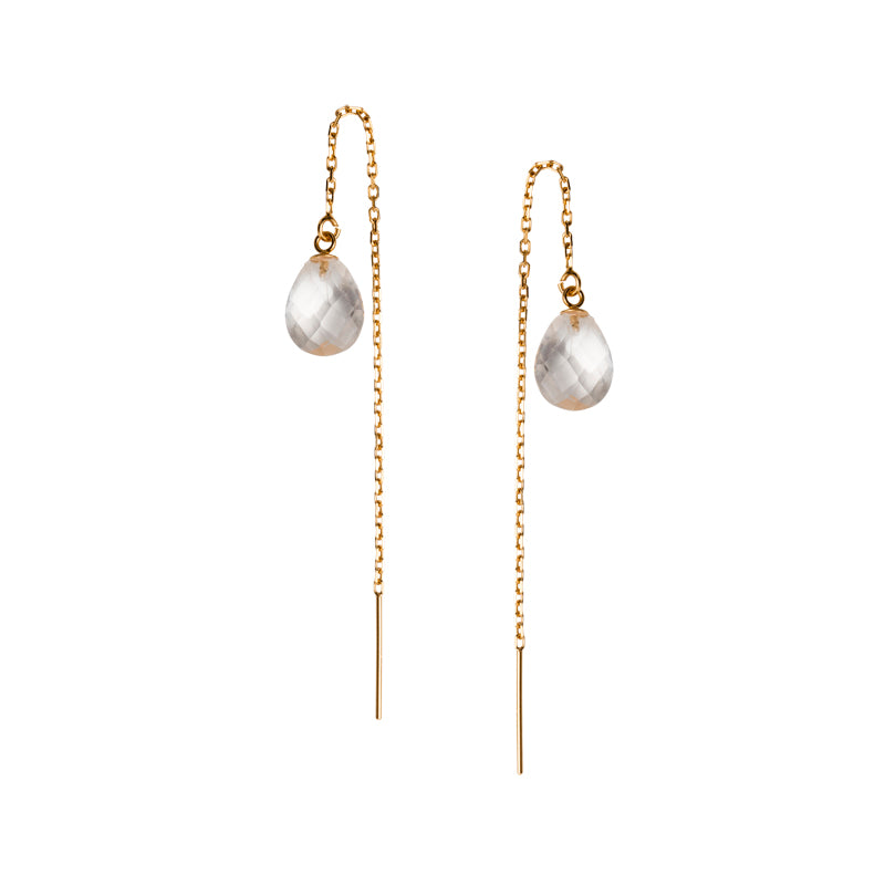 Chloe Thread Earrings, Crystal Quartz, Gold