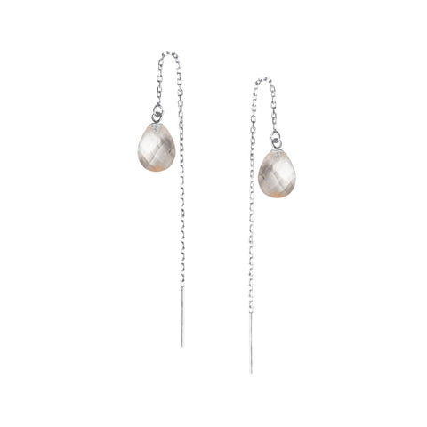 Chloe Thread Earrings, Crystal Quartz, Silver
