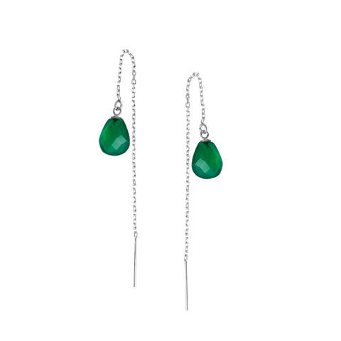 Chloe Thread Earrings, Green Onyx, Silver
