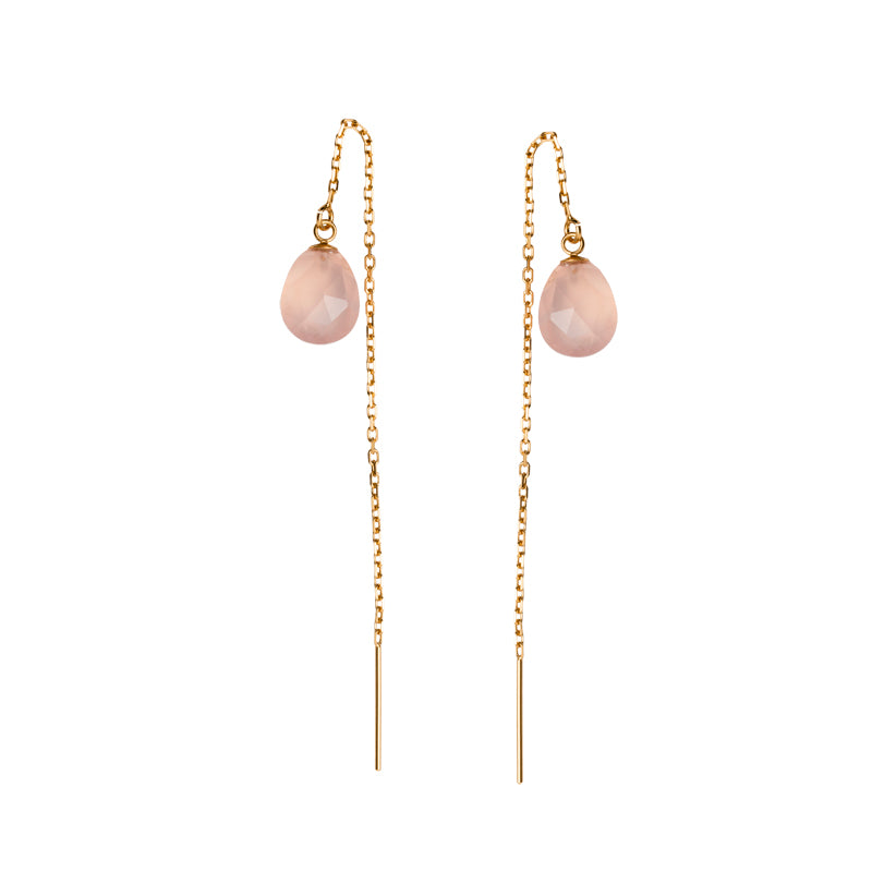 Chloe Thread Earrings, Rose Quartz, Gold