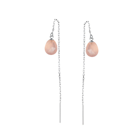 Chloe Thread Earrings, Rose Quartz, Silver