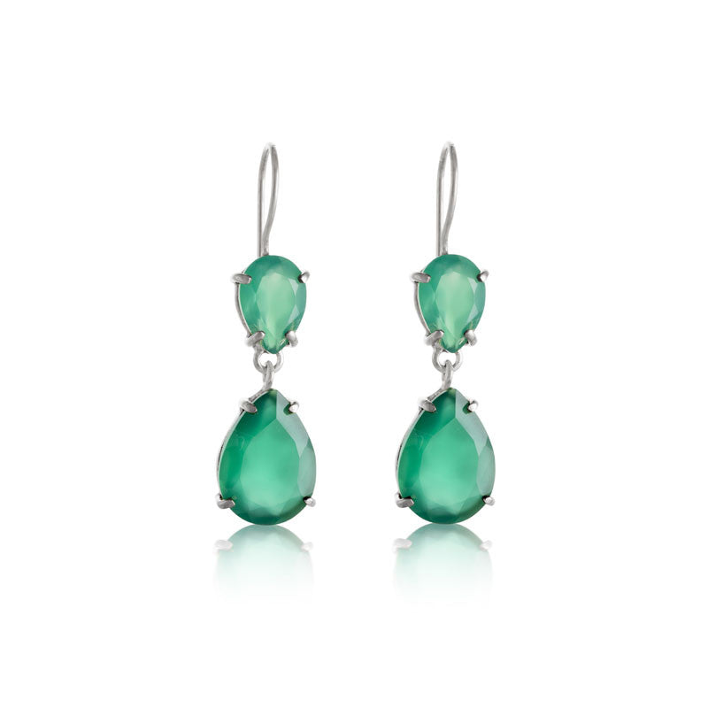 Pear Duo Earring, Green Onyx, Silver