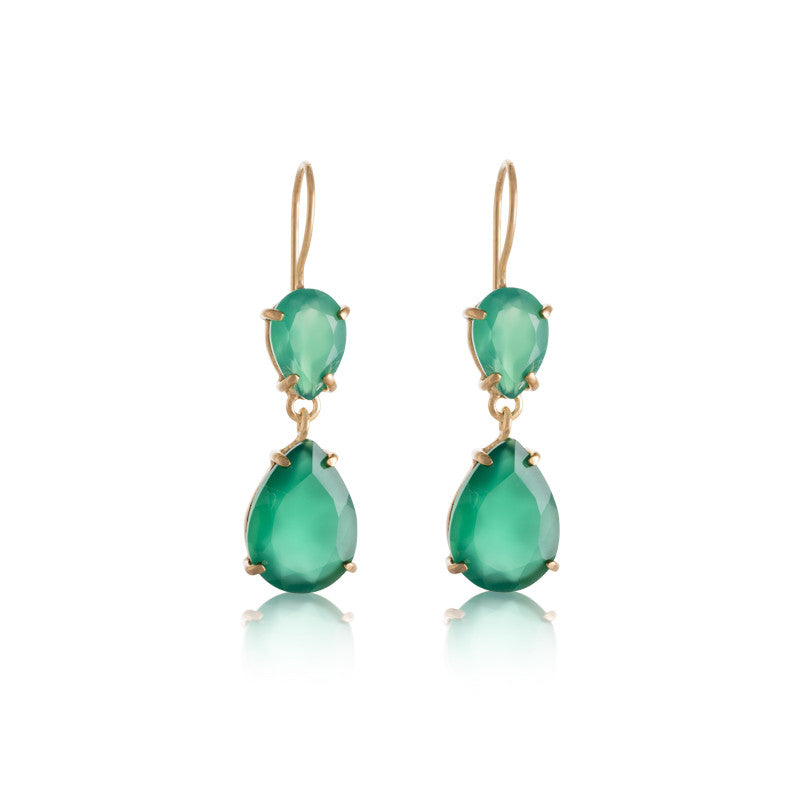 Pear Duo Earring, Green Onyx, Gold