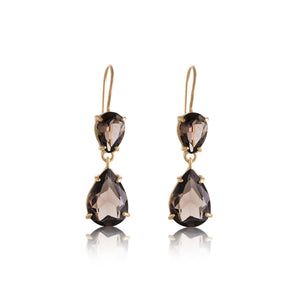 Pear Duo Earring, Smokey Quartz, Gold
