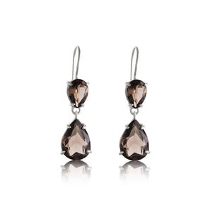 Pear Duo Earring, Smokey Quartz, Silver