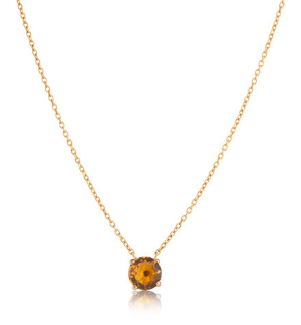 Solitaire Necklace, Citrine, Gold