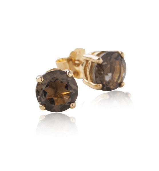 Solitaire Stud, Smokey Quartz, Gold