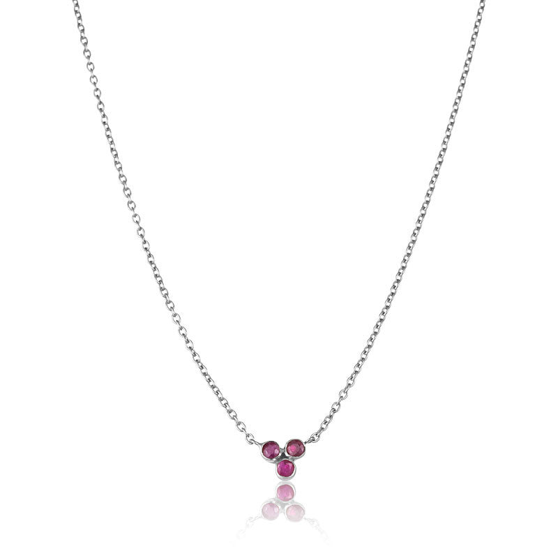 Clover Ruby Necklace, Silver