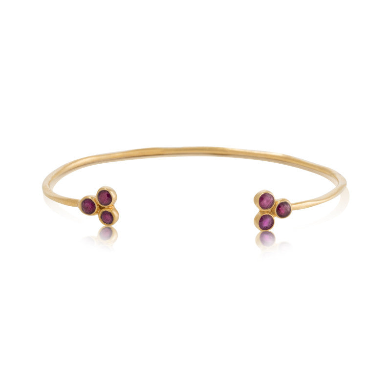 Clover Cuff, Ruby, Gold