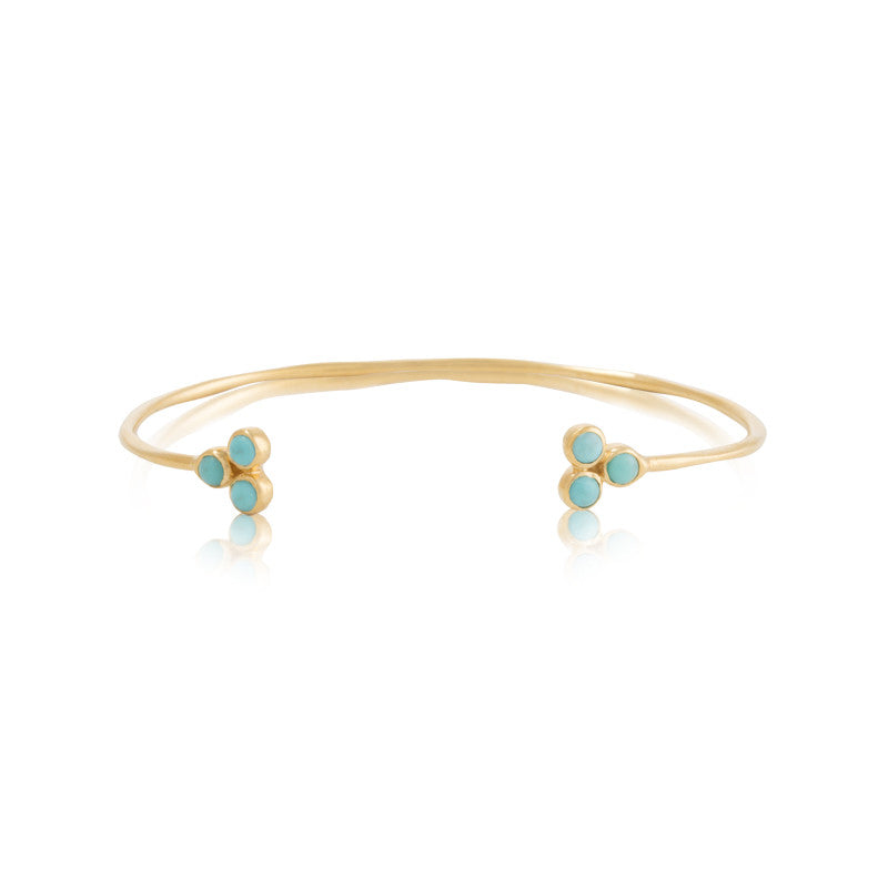 Clover Cuff, Turquoise, Gold